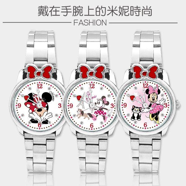 【迪士尼】米妮蝴蝶結造型鋼帶錶_鐵塔米妮