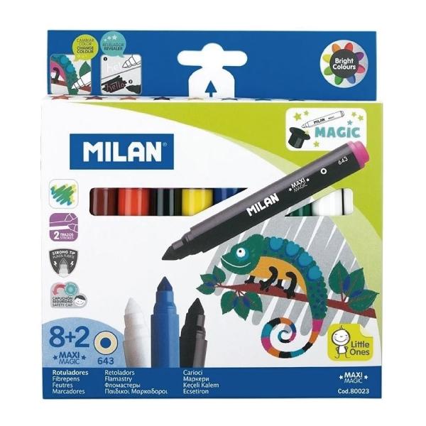 MILAN 可水洗魔法變色彩色筆(粗筆桿8+2色)