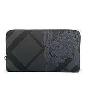 【BURBERRY】戰馬騎士London格紋皮革拉鏈長夾(碳灰) 8006076 A1008