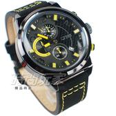 SKMEI 時刻美 三眼計時碼錶 個性時尚腕錶 真三眼 日期視窗 防水男錶 大錶 黑x黃 SK9149黃