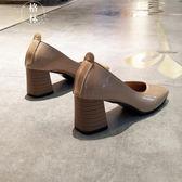 方頭粗跟單鞋女淺口中跟高跟鞋軟底舒適奶奶鞋上班工作鞋 【格林世家】