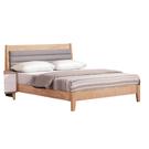【采桔家居】亞托雷 時尚6尺木紋皮革雙人加大床台組合(不含床墊&床頭櫃)