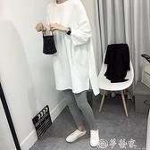 七分袖T恤 短袖t恤女2021夏韓版新款寬鬆七分袖中長款純棉白色開叉大碼上衣 夢藝