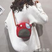 搞怪小包包帆布搞怪可愛撞色小包包女卡通小圓包新款百搭韓版單肩斜背包 初語生活