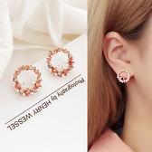 花朵耳釘可愛氣質女耳飾品韓國個性簡約百搭短款耳環 一次元