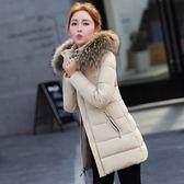 冬裝棉襖女羽絨棉服中長款大毛領棉衣女可拆卸帽修身厚外套潮