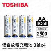 Toshiba TNH-3A 低自放電充電電池 3號4入 AA 最高2500mAh  ★可刷卡★ 鎳氫充電池 大容量 薪創