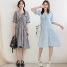 現貨-MIUSTAR v領抽皺澎袖格紋蛋糕洋裝(共2色)【NJ1069】