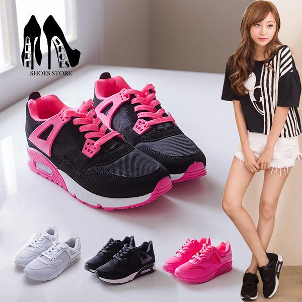 [Here Shoes]零碼36 38 4色 螢光色系透氣網眼繫帶慢跑鞋  運動風 舒適休閒運動鞋(鞋款偏小)─KPF-18