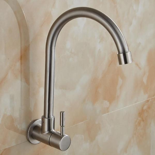 水龍頭單冷 掛牆壁入牆式304不銹鋼水槽廚房洗菜盆萬向陽台洗衣池 錢夫人小鋪