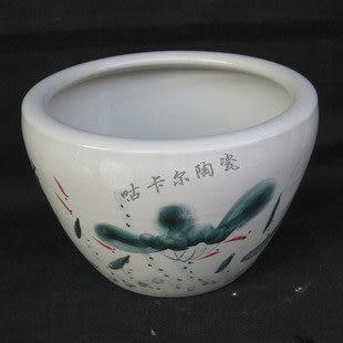 景德鎮 陶瓷器 手繪魚缸 連年有餘 家居擺設 裝修禮品