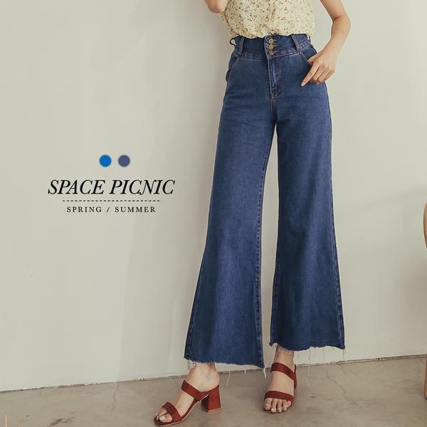 寬褲 Space Picnic|高腰三腰排扣單寧牛仔寬褲(現貨)【C18051114】