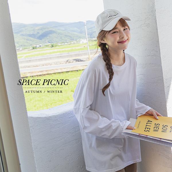 上衣 Space Picnic|素面落肩長袖上衣-4色(現貨)【C21073055】