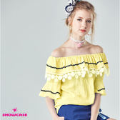 【SHOWCASE】甜美麻感蕾絲荷葉領寬袖上衣(黃)
