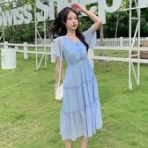依二衣 洋裝 夏淺藍淺綠純色連身裙氣質甜美v領顯瘦鬆緊腰連身裙套頭