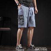 夏季薄款牛仔褲男韓版潮流大口袋寬鬆直筒工裝休閒潮牌五分短褲男 依凡卡時尚