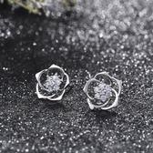 耳環 925純銀 鑲鑽-優美玫瑰花生日七夕情人節禮物女飾品2色73hz100[時尚巴黎]