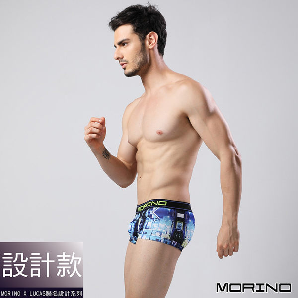 【MORINOxLUCAS設計師聯名】速乾涼爽時尚平口褲 藍色