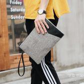 文藝帆布灰色系男士手拿包 潮流撞色商務文件包 休閒街頭手腕包