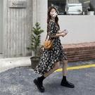 法式復古小眾碎花裙夏中長裙2021新款氣質顯瘦高級感短袖洋裝連衣裙女 快速出貨