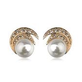 耳環 玫瑰金 925純銀鑲鑽-優美氣質生日情人節禮物女飾品2色73gs184【時尚巴黎】