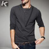長袖T恤 時尚春季新款 男士個性半開襟長袖T恤 拼接男裝(快速出貨)