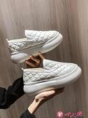 樂福鞋 單鞋女2021秋冬新款加絨厚底鬆糕一腳蹬樂福鞋棉鞋豆豆鞋百搭增高 小天使