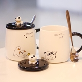 創意簡約可愛陶瓷杯子帶蓋勺馬克杯情侶個性杯 萬客居