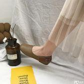 娃娃鞋/日系文藝范森女鞋復古單鞋平底圓頭娃娃鞋一腳蹬奶奶鞋潮
