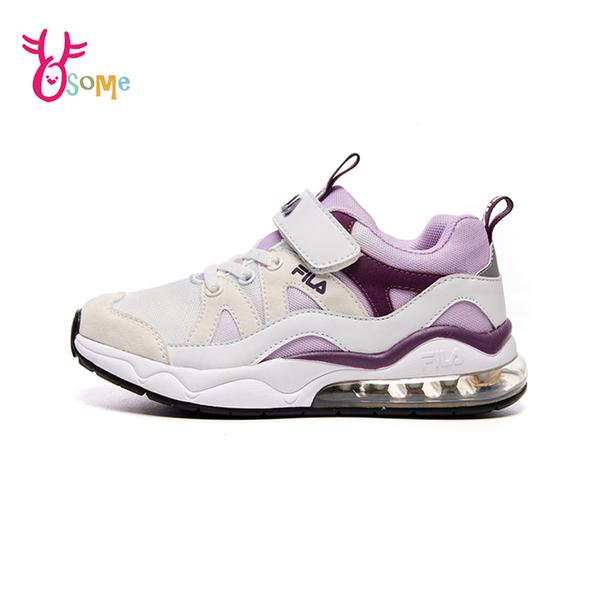 FILA童鞋 女童運動鞋 氣墊鞋 慢跑鞋 運動鞋 跑步鞋 魔鬼氈運動鞋 大童 康特杯 R7672#卡其◆奧森