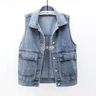 牛仔馬甲女短款春夏新品簡約大口袋無袖背心百搭寬鬆上衣開衫