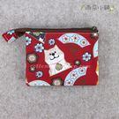 零錢包 包包 防水包 雨朵小舖 M055-811 單拉鍊內雙層零錢包-紅和風扇柴犬07057 funbaobao
