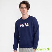 圖案圓領厚棉T恤05海軍藍-bossini男裝