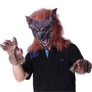Cosplay配件萬聖節-恐怖咖啡色狼頭面具+狼手套420g