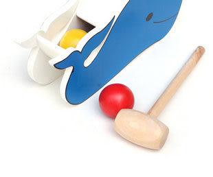 精品玩具 木制鯨魚錘盒