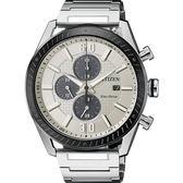 【送米奇電扇】CITIZEN 星辰光動能渦輪時尚計時手錶-銀x黑圈/43mm CA0669-84A