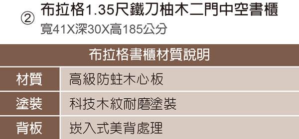 【森可家居】布拉格1.35尺鐵刀柚木二門中空書櫃 7JF378-6