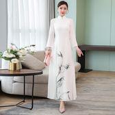 週年慶 洋裝 唐裝中式中國風復古仙氣奧黛旗袍改良式禪舞禪服茶服雙層連身裙 隨想曲