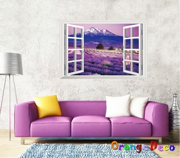 壁貼【橘果設計】薰衣草窗戶 DIY組合壁貼 牆貼 壁紙 壁貼 室內設計 裝潢 壁貼