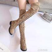 2019秋季新款馬丁靴女英倫風過膝靴女長筒高筒靴騎士機車靴子女『艾麗花園』
