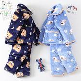 秋冬季兒童珊瑚絨睡衣夾棉加厚款男童女童寶寶小孩法蘭絨男孩套裝   夢曼森居家