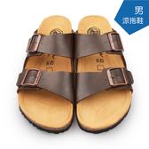【A.MOUR 經典手工鞋】男涼拖鞋系列-咖 / 涼拖鞋 / 平底鞋 / 防潑水PVC  /DH-5021