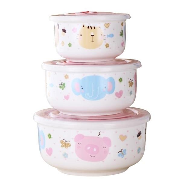 保鮮盒可微波爐 瓷碗陶瓷保鮮碗 便當盒  快速出貨