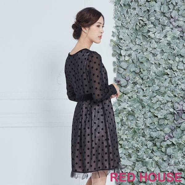RED HOUSE-蕾赫斯-透膚點點洋裝(黑色)