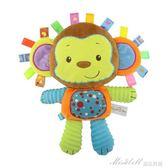安撫巾 新生嬰兒標簽手抓安撫巾陪寶寶睡公仔娃娃毛絨玩具可啃咬搖鈴玩偶     蜜拉貝爾