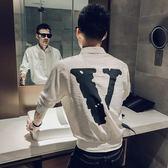 【免運】夏季新款發型師個性短袖T恤男寬鬆男模服裝男夜場帥氣襯衫酒吧潮
