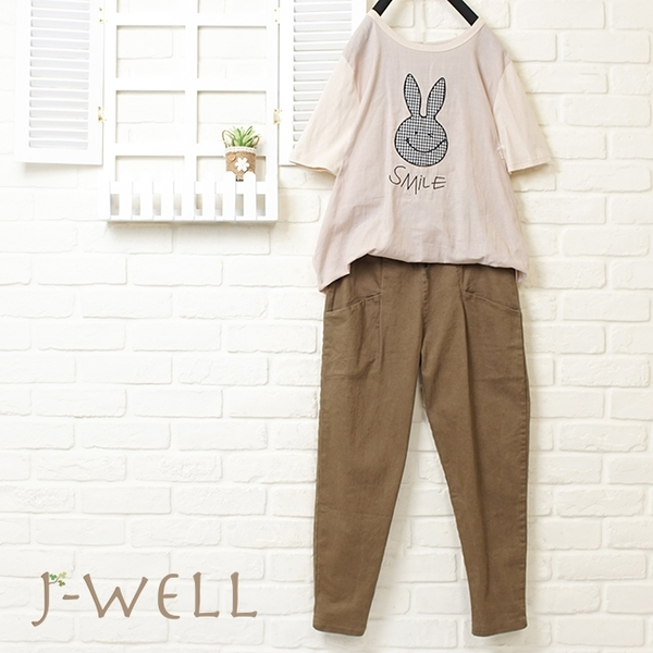 J-WELL Smile格子兔T綁帶男友褲二件組(組合704  8J1417杏+8J1370卡其M)