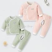 新生嬰兒兒衣服秋冬分體52碼純棉夾棉套裝剛初生保暖款無骨和尚服 交換禮物