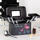 ins化妝包少女便攜大容量多功能網紅化妝品收納盒簡約化妝箱手提      良品鋪子