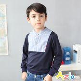 Azio男童 上衣 拼接鈕釦直條紋長袖上衣(藍)